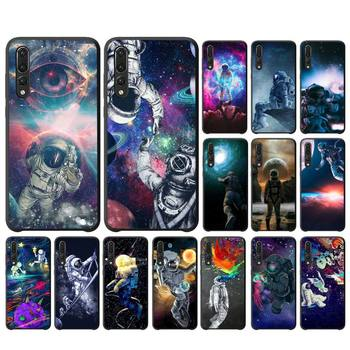 YNDFCNB Trippy Art aesthetic Space astronaut Soft Black Phone Case For Huawei P10 20 30 40 Lite P20Pro P30Pro P40Pro Psmart image