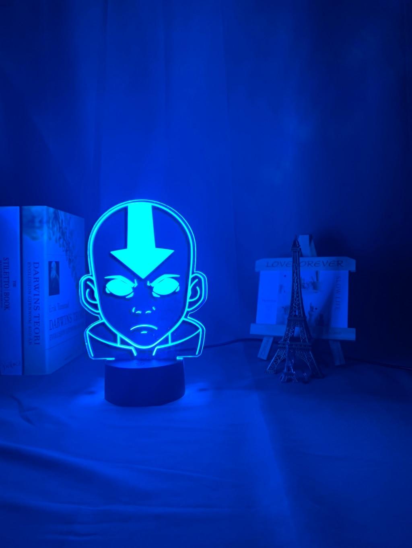 H1300eb80d5ea48d1afa3aa4795df4a79o Luminária Acrílico 3d Lâmpada Nightlight Avatar The Last Airbender para As Crianças Decoração Do Quarto Da Criança A Lenda de Aang Figura Mesa Appa luz da noite