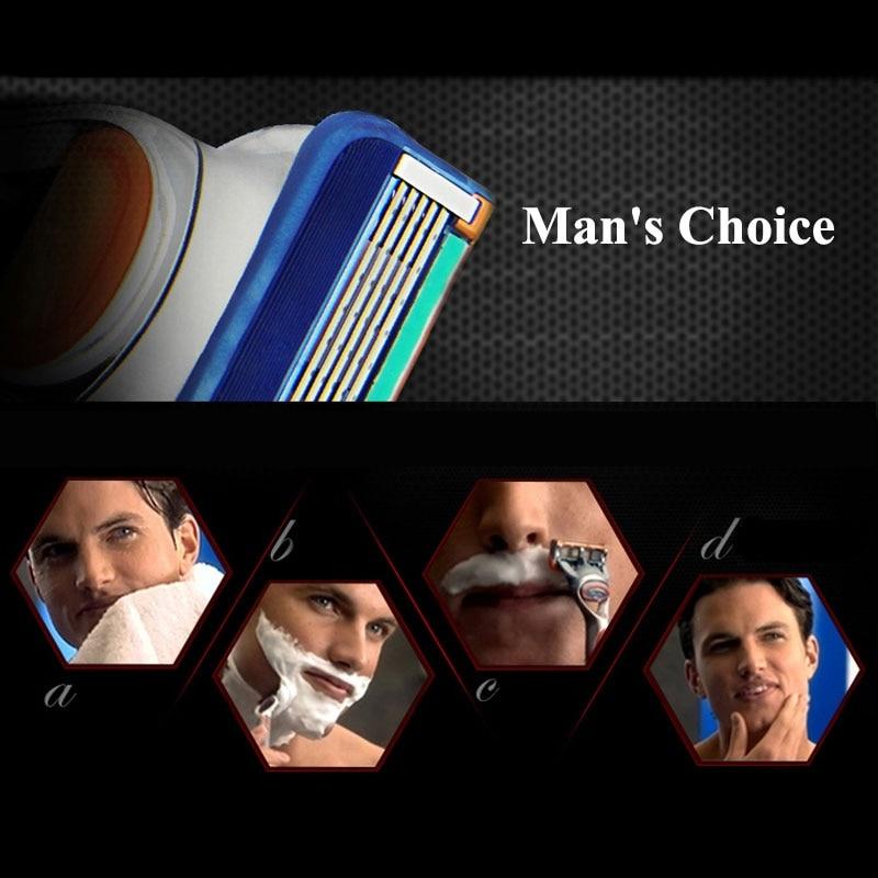 Купить с кэшбэком 8/4Pcs Razor Blades Men Face Care 5+1 Layers Stainless Steel Blades Manual Razor Gillette Fusion 5