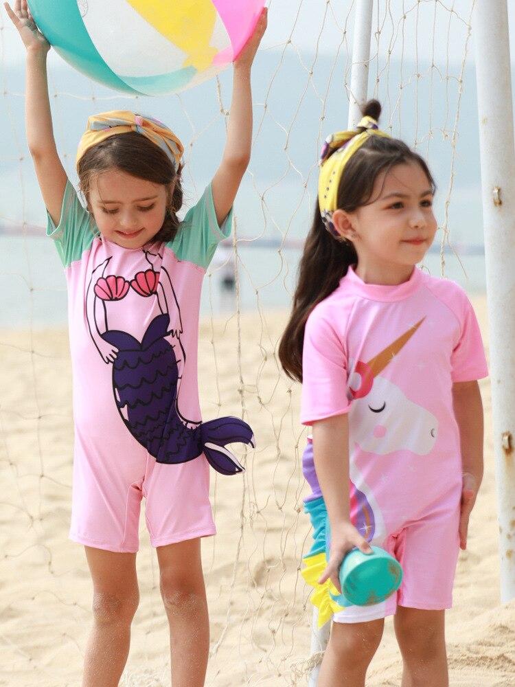 Cartoon Mermaid Swimsuit Children One-piece Unicorn Short Sleeve Bathing Suit GIRL'S Swimsuit Small CHILDREN'S Children Quick-Dr