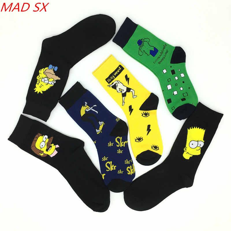 10 çift erkekler ve kadınlar komik rahat penye pamuk çorap Harajuku tarzı yenilik karikatür desen elbise çorap unisex Hip Hop Sokken