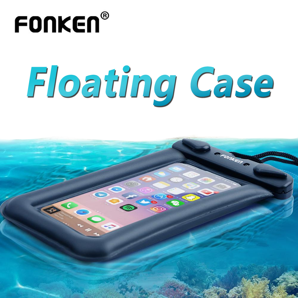 FONKEN Airbag Floating Waterproof Phone Case Smartphone Underwater Dry Bag IPX8 Storage Pouch For Universal Android Cell Phone