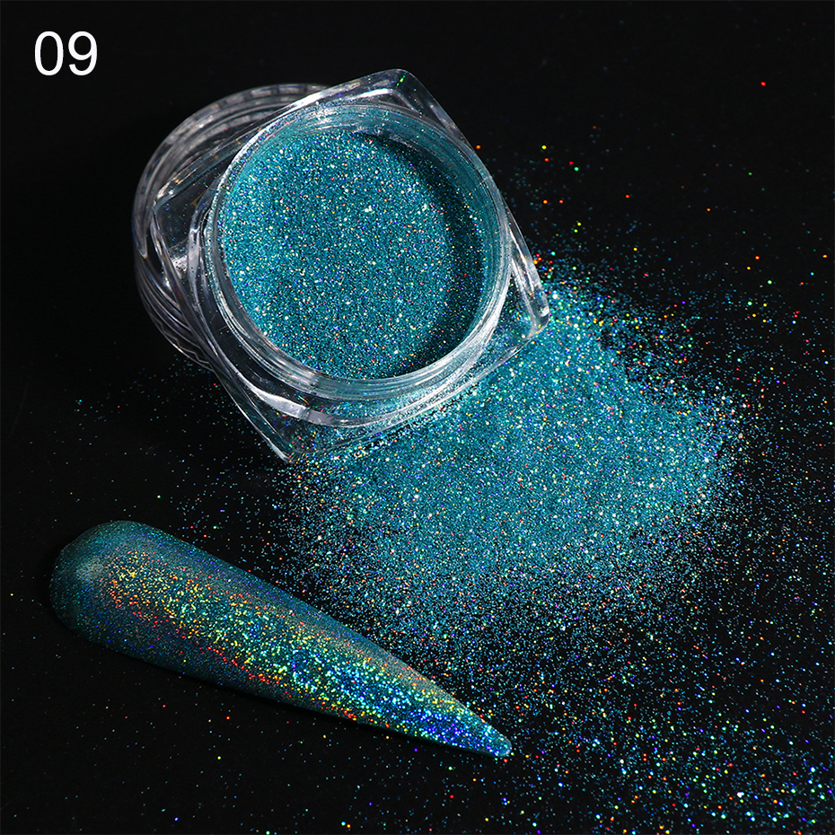 Holographic Nail Glitter Powder Laser Dipping Sequins Pigment Nail Art Gradient Mirror Chrome Dust Shining Polish Flakes BE1028-2 (13)