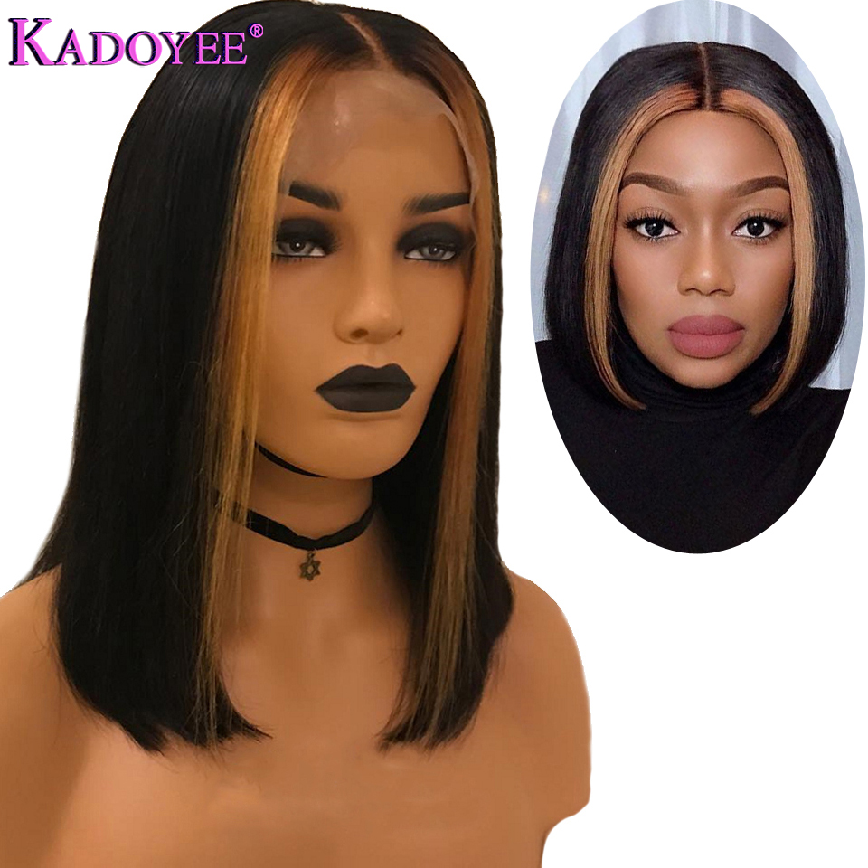 Short Bob Lace Front Wigs Ombre Blonde Bob Wig With Highlight Brazilian Human Hair Straight Wig Pre Plucked Remy Wigs For Women