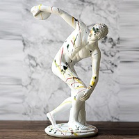 European Style Colored Drawing Graffiti Resin Abstraction Discobolus Statue Creative Living Room Home Decor Accessories A1837