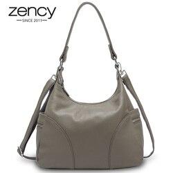 Zency 100% натуральная кожа модные женские сумки на плечо высокого качества вместительные элегантные женские сумки Черные Серые сумки через пл...