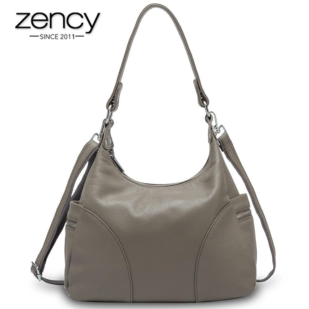 Zency 100% Genuine Leather Fashion Women Shoulder Bags High Quality Hobos Elegant Lady Tote Handbag Black Grey Crossbody Bags