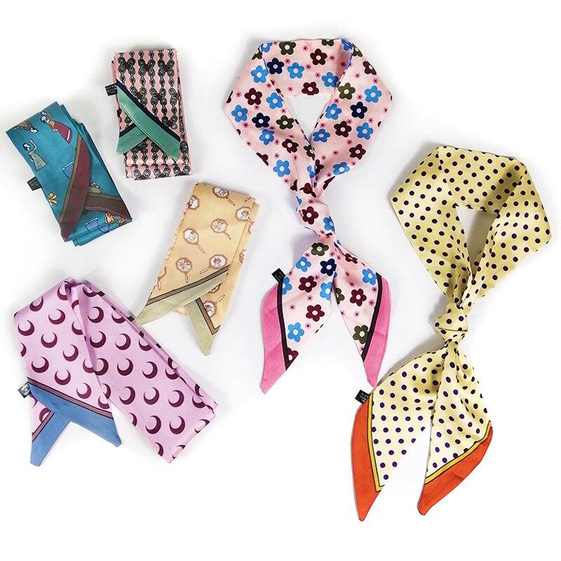 110*6cm Narrow Long Silk Scarf For Women Long Neck Hair Scarf Bag Strap Small Neck Scarves Fashion Elegant Belt Tie Handbag