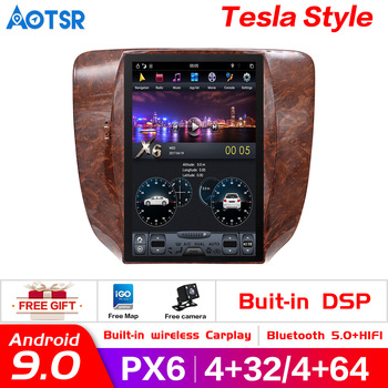 Автомобильный DVD плеер Tesla style px6, Android 9,0, 4 + 64 ГБ, GPS Navi, для GMC Yukon/Chevrolet Tahoe suburban 2007 2013, головное устройство радио