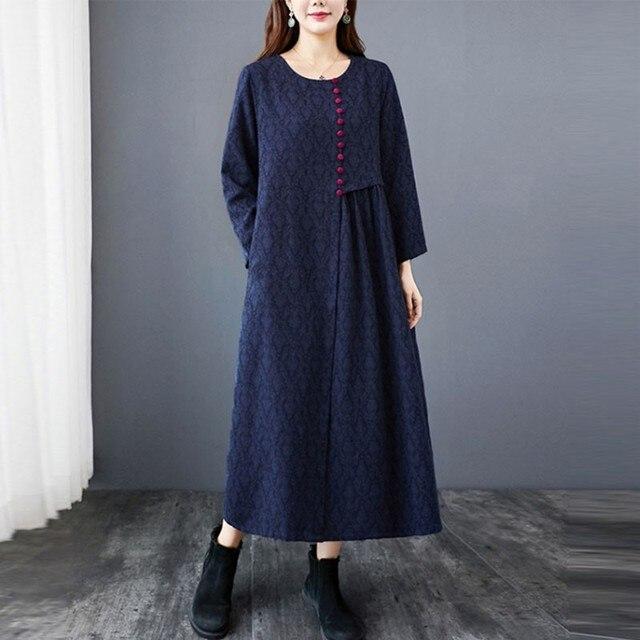 Women Autumn Cotton Linen Long Dress New Arrival 2020 Vintage Style O-neck Loose Comfortable Ladies Elegant A-line Dresses S1841 4