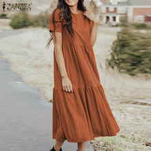 Women Elegant Ruffles Dress Summer Sundress Casual Short Sleeve Solid Party Vestido ZANZEA Vintage Kaftan Dresses Femme Robe