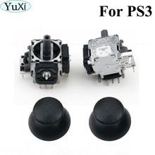 YuXi 3D 아날로그 축 3D 조이스틱 모듈 전위차계, 플레이 스테이션 3 컨트롤러 수리 용 PS3 용 2x 검정색 썸 스틱 포함
