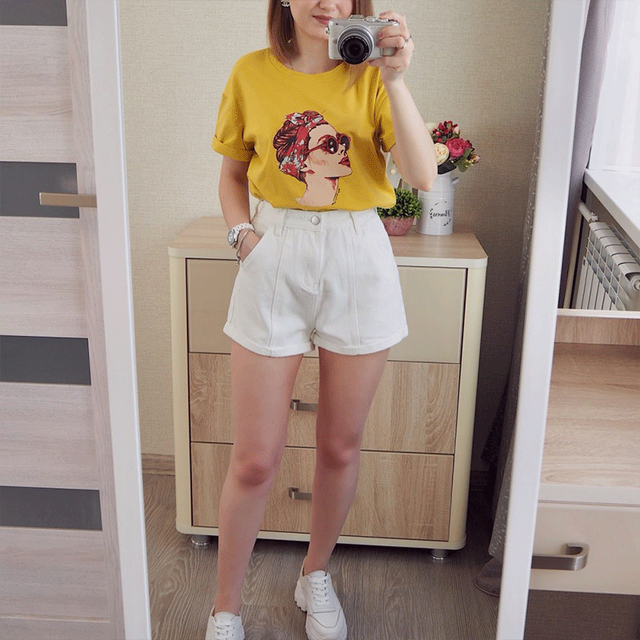 LYZCR Wide Leg Denim Shorts For Women Summer 2021 High Waist Jeans Shorts Women Casual Loose Women's Shorts Jean White Kahki 4