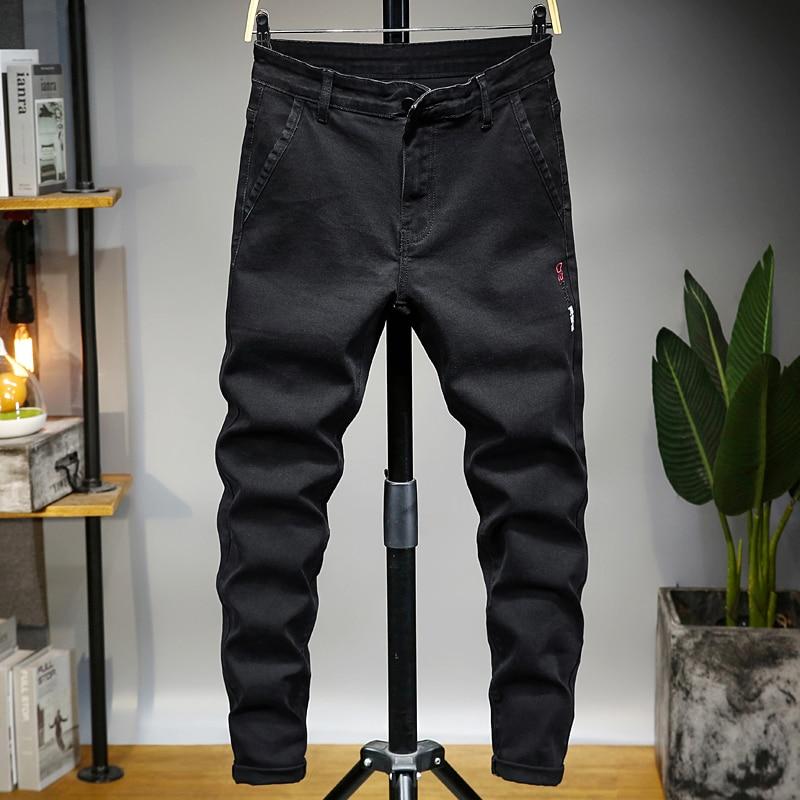 New Jeans Men Stretch Summer Business Casual Slim Straight Jeans Fashion Denim Pants Male Trousers Regular Fit Black Slim Pants