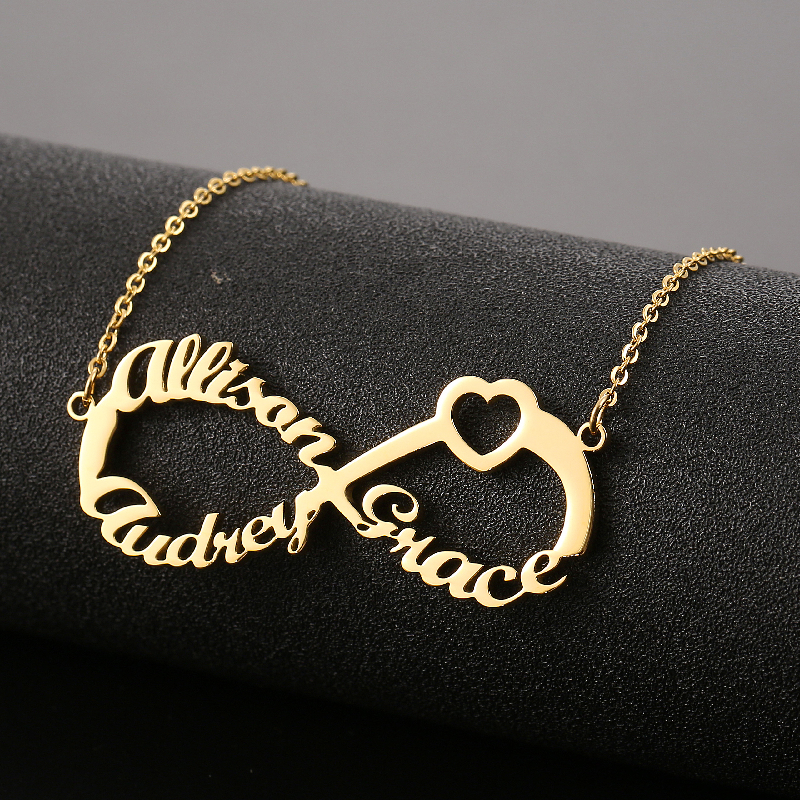 Custom Infinity Necklace Infinity Name Necklace Birthstone Family Necklace Personalized Birthstone Necklace Nameplate Gold Gem Necklace