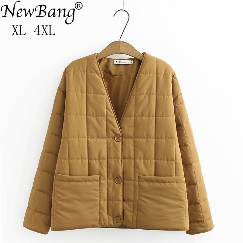 NewBang  4XL Plus Size V-neck Cotton Jacket Women Winter Warm Coat With Button Female Slim Jackets