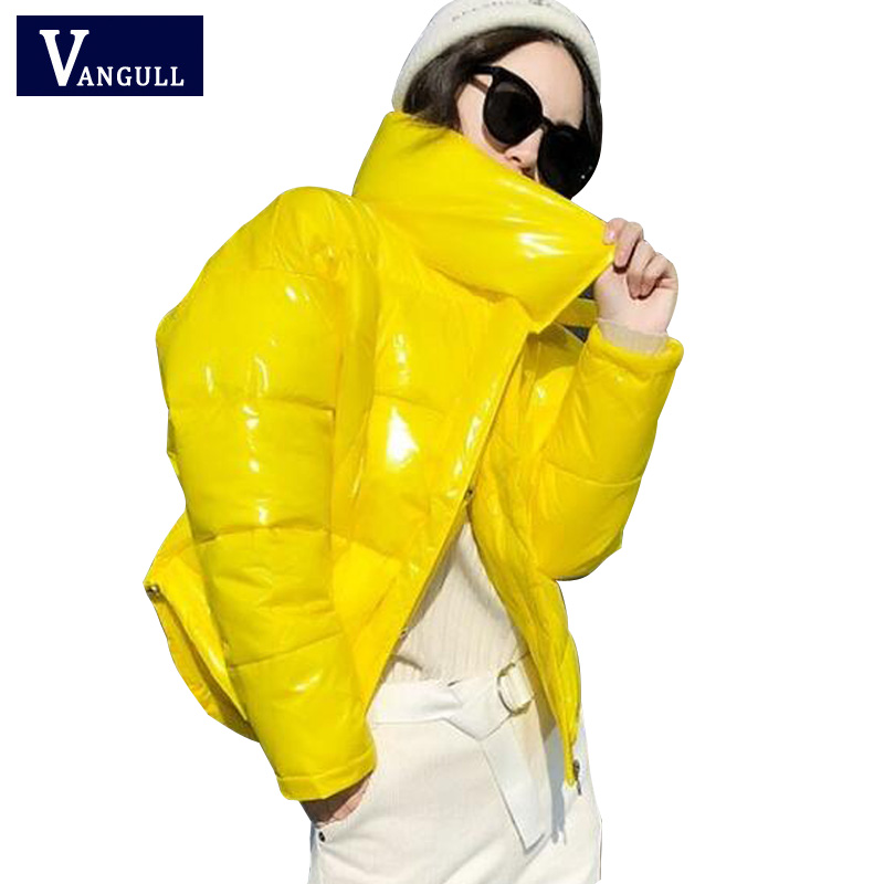 VANGULL Glossy Winter Down Cotton Padded Jacket For Women 2019 Thick Bright Black Short Shiny Jacket Yellow Red Cotton   Parkas