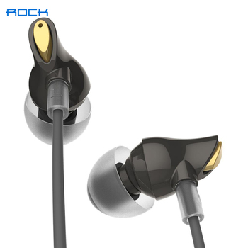 ROCK  In Ear Zircon Stereo Earphone 3.5mm Immersive Headset for iPhone ipad Samsung of Luxury Earbuds With Mic Wired