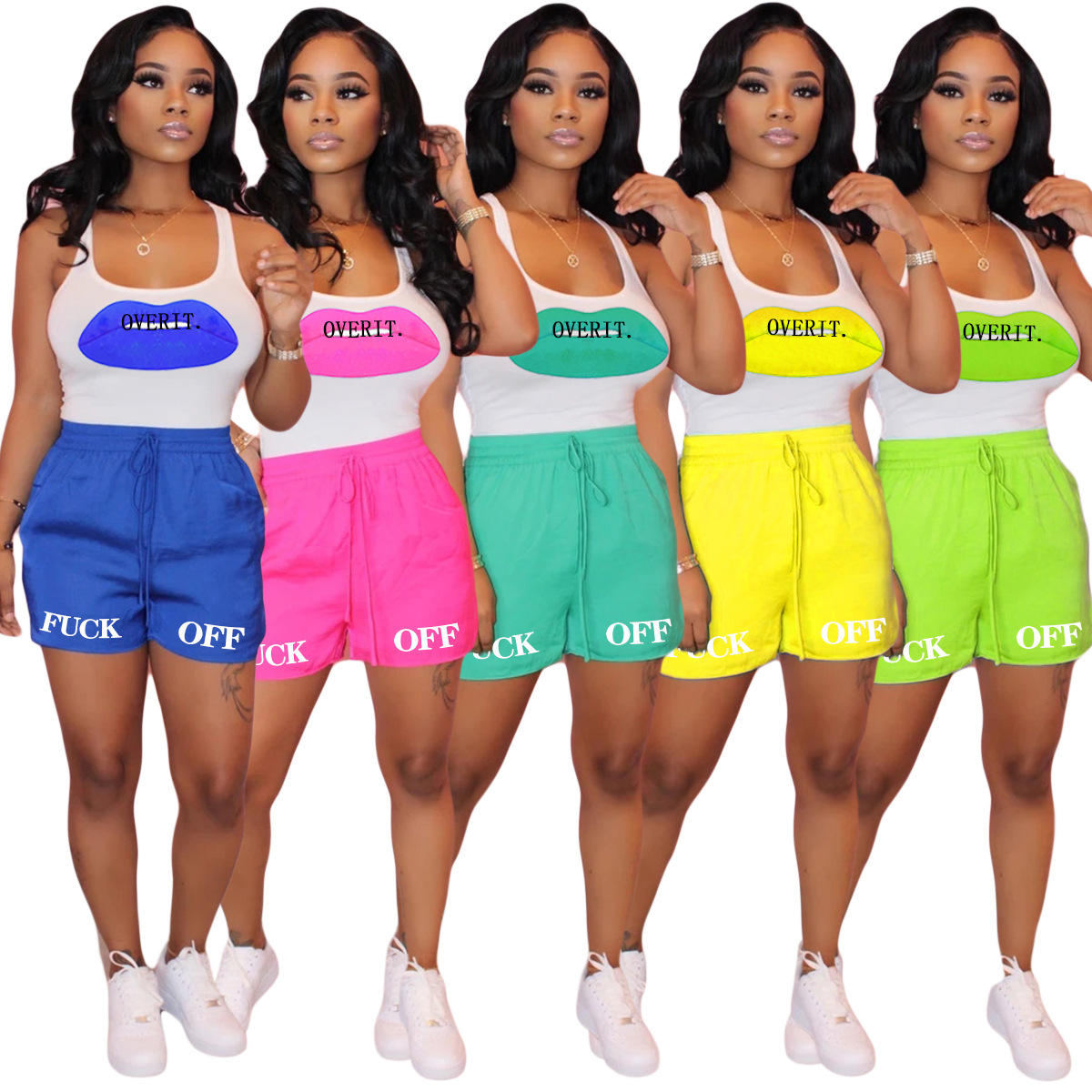 2020 Women Sets Summer Tracksuits Sportswear Letter Print Tops+Shorts Suit Two Piece Set 2 Pcs Night Club Party Outfits