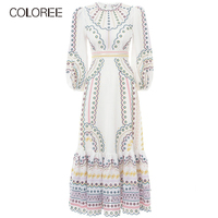 COLOREE Spring Autumn Women Long Dress Elegant Round Neck Bohemian Vacation White Embroidery Dress Vestidos For Female New
