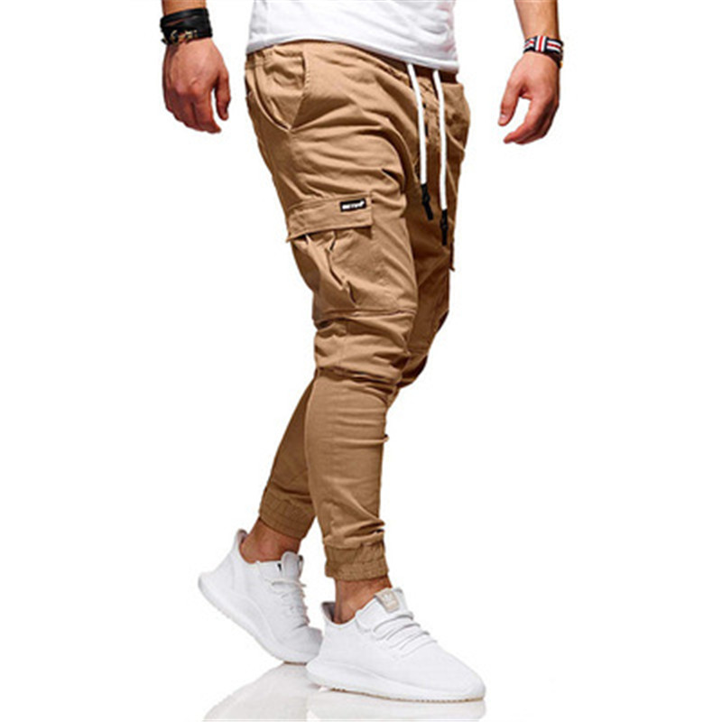 New men's casual pants hot style pure color joker overalls tether men's movement