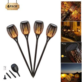 4Pcs/set  72LED Solar Flame Lamp Flickering Outdoor IP65 Waterproof Landscape Yard Garden Light Path Lighting Torch Light