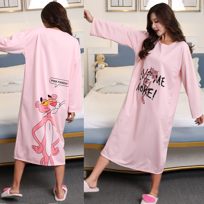 Long Sleeve Nightgown Autumn And Winter Powder Double-Sided Leopard Skirt M-XXL (16 Yuan) Double-Sided Qmilch Thick-Home-feeding