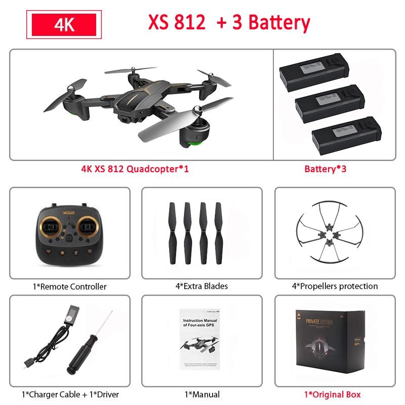 VISUO XS812 GPS 5G WiFi FPV With 4K FHD Camera 15mins Flight Time Foldable RC Drone Quadcopter RTF Kids Birth Gift