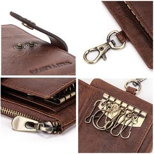 Image 5 - Contacts Vintage Key Wallets Genuine Leather Wallet Men Car Key Holder Housekeeper Hasp Design Coin Purse Zipper Keys Organizer