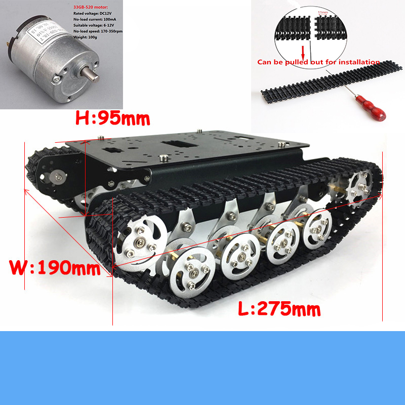 <font><b>TS100</b></font> Metal Shock-Absorbing <font><b>Tank</b></font> Chassis Kit Heavy Load Smart Tracked Robot Frame With 33GB-520 Motor Education DIY Toy image