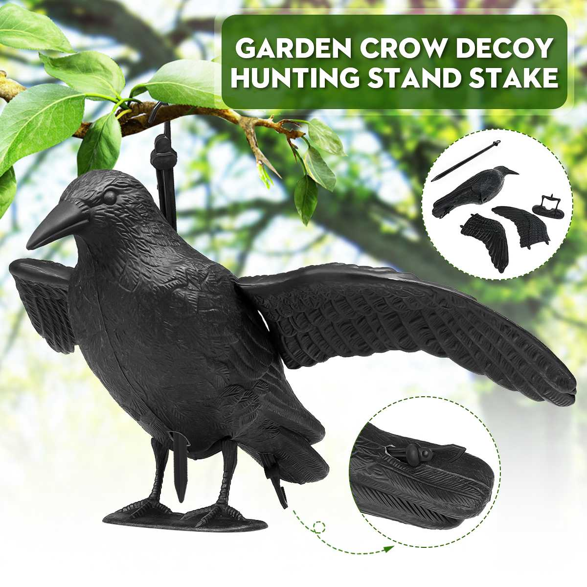 Crow Hunting Decoy Scare Scarecrow Realistic Garden Yard Bird Repeller Waterproof Decoration Supplies Gift Scarer Decoration