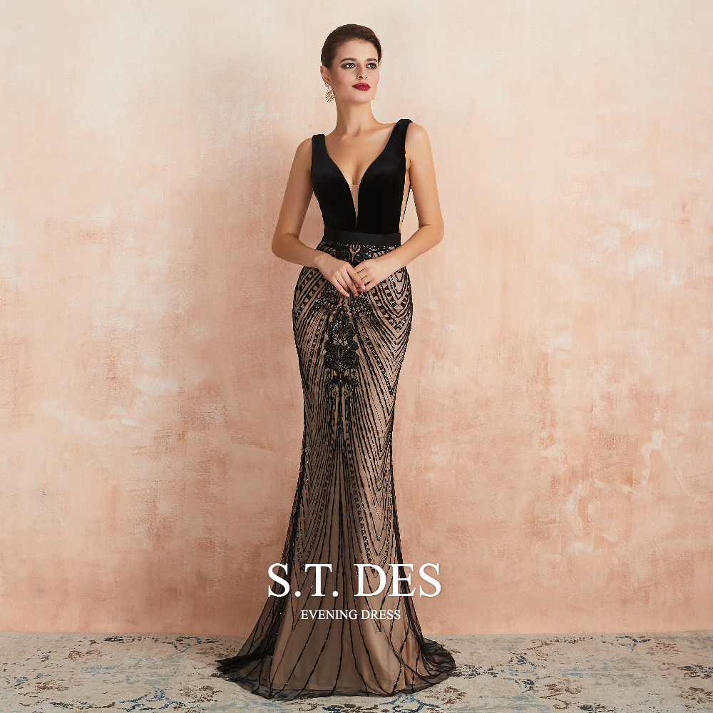 2020 S.T.DES Gorgeous Deep V-Neck Champagne With Black Embroidery Lace Mermaid Prom Dress Floor-Length Evening Dress For Woman