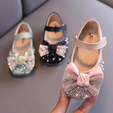 Girls Shoes Mary Jane Rhinestone Pearl Bowknot PU
