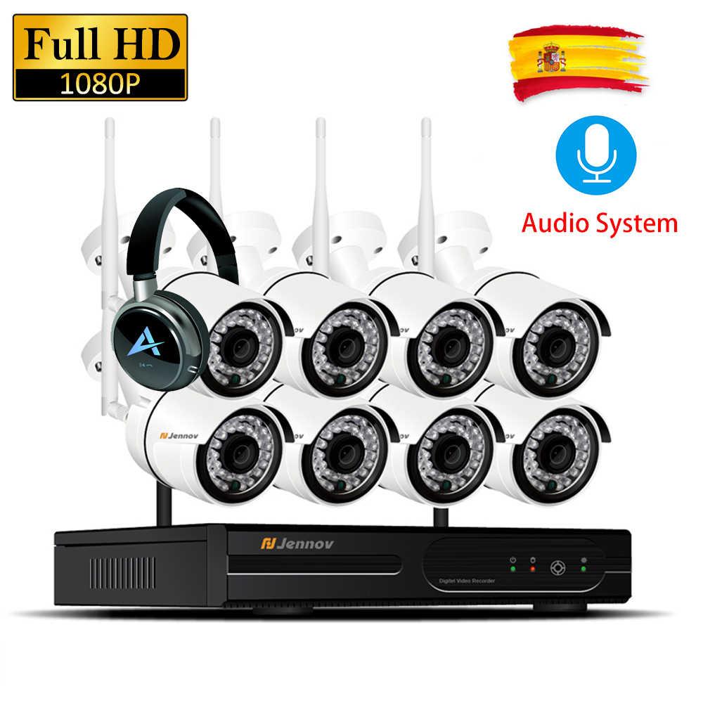 8-канальная ip-камера с разрешением 1080 P, 2-мегапиксельная, записывающая аудио, водонепроницаемая, беспроводная система видеонаблюдения, комплект NVR, Wi-Fi, комплекты видеонаблюдения, Wi-Fi, светодиодная камера