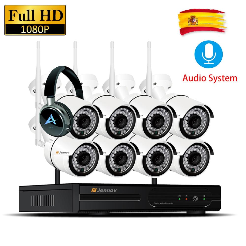8CH 1080P 2MP Gravação de Áudio Da Câmera IP NVR Sistema De Segurança CCTV Sem Fio À Prova D' Água Definir Kits De Vigilância Wi-fi wi-fi Levou cam luz