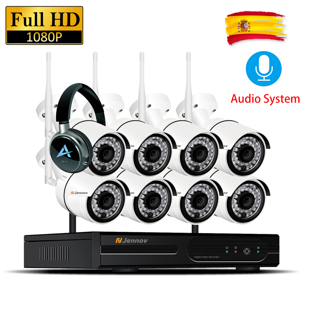 8CH 1080P 2MP IP Camera Audio Record Waterproof Wireless Security CCTV System NVR Set Wifi Surveillance Kits Wi-fi Led Light Cam