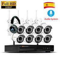 8CH 1080P 2MP cámara IP grabación de Audio impermeable sistema de seguridad inalámbrica CCTV NVR Set Wifi Kits de vigilancia Wifi Led luz Cam