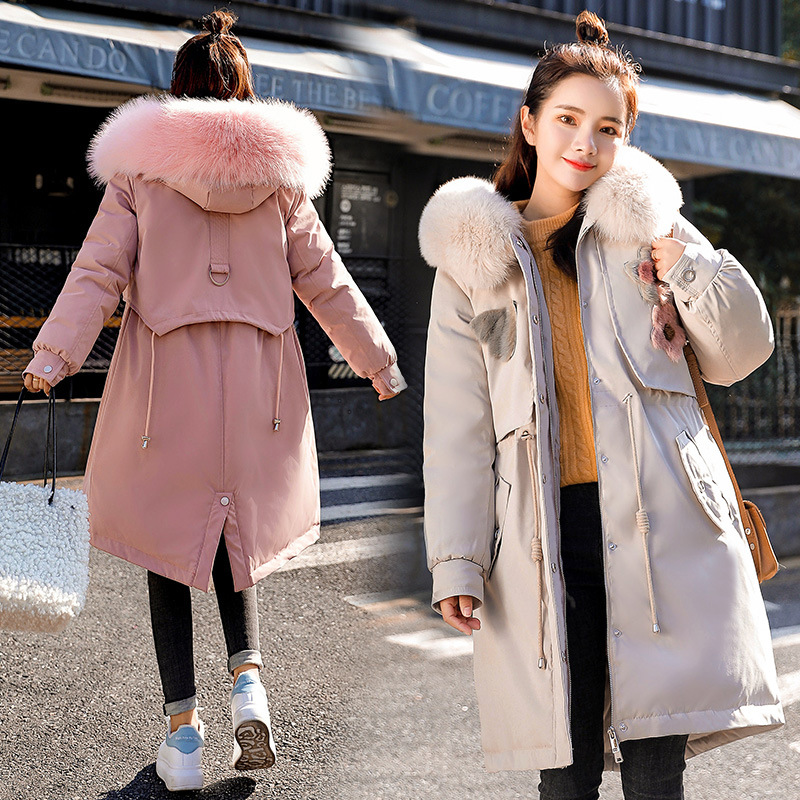 Pike Cotton Coat Women's 2019 Winter Korean-style BF Mid-length Cotton Overcoat Large Fur Collar Thick Warm Workwear Cotton-padd