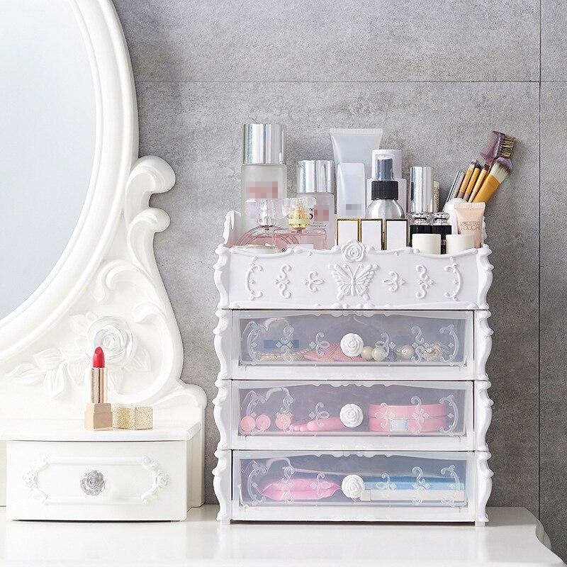 Organizador de maquiagem, recipiente multicamada de plástico para gavetas, para armazenamento de joias, maquiagem, caixas de escritório