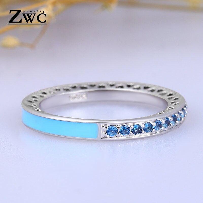 ZWC модный Сияющий светильник в виде сердец с розовой эмалью и прозрачным CZ кольцом на палец для женщин, кольца с кристаллами из медного сплава, ювелирные изделия в подарок