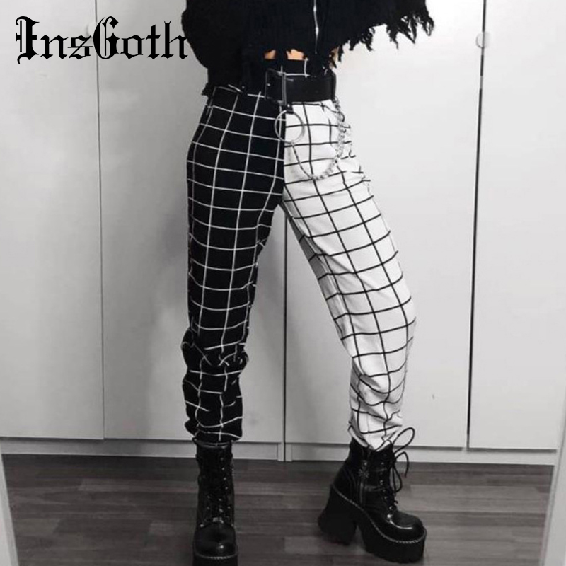 Insgoth Cargo-Pants Long-Trousers Patchwork Checkerboard Plaid Streetwear High-Waist title=