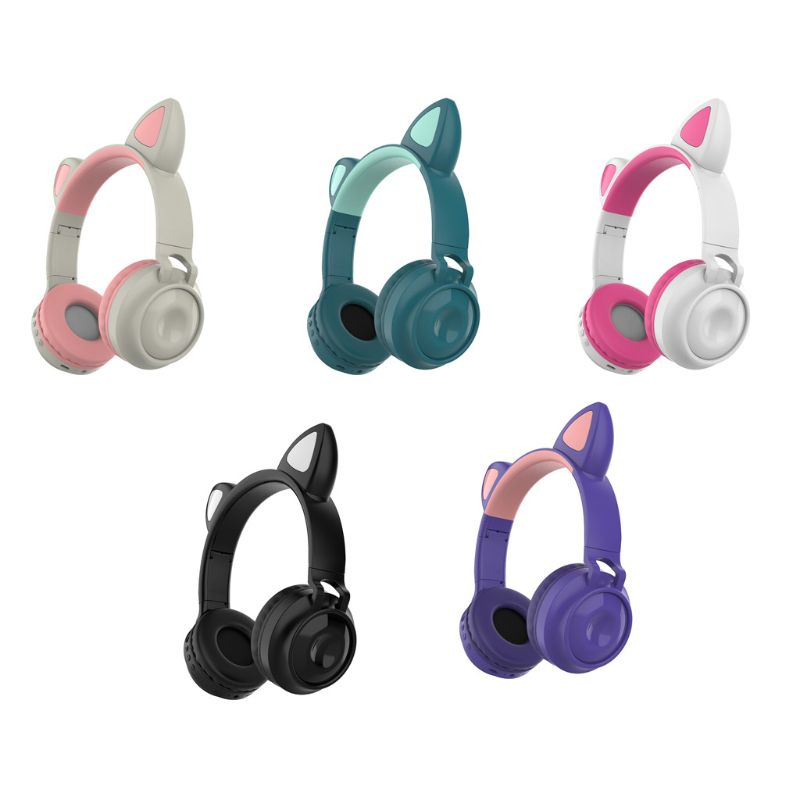 Cat Ear with LED light Noise Cancelling Foldable Wireless Headphones