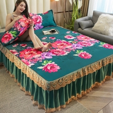 1pc Bed Skirt + 2pcs PillowcaseFloral Printing Bedspread King Queen Twin Size Thicken Sanding Soft Bed Skirt 3pcs Set