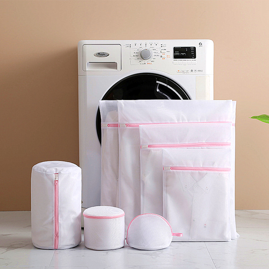 Pink Zipper Bra Laundry Bag Useful Protected Delicate Underwear Clothes Washing Bags Household Laundry Products Thick/Fine Mesh