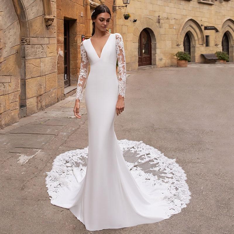 Eightree Vestido De Noiva Long Sleeves Wedding Dresses Mermaid V Neck Lace Appliques Wedding Gowns Backless Bridal Dress Turkey
