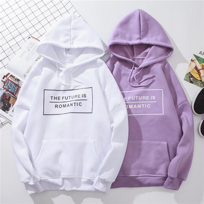 Autumn Women's Hoodie Sweatshirt Woman Harajuku Blackpink Kawaii Letter Pullover Female 2020 Purple Oversized Hoodies White Tops