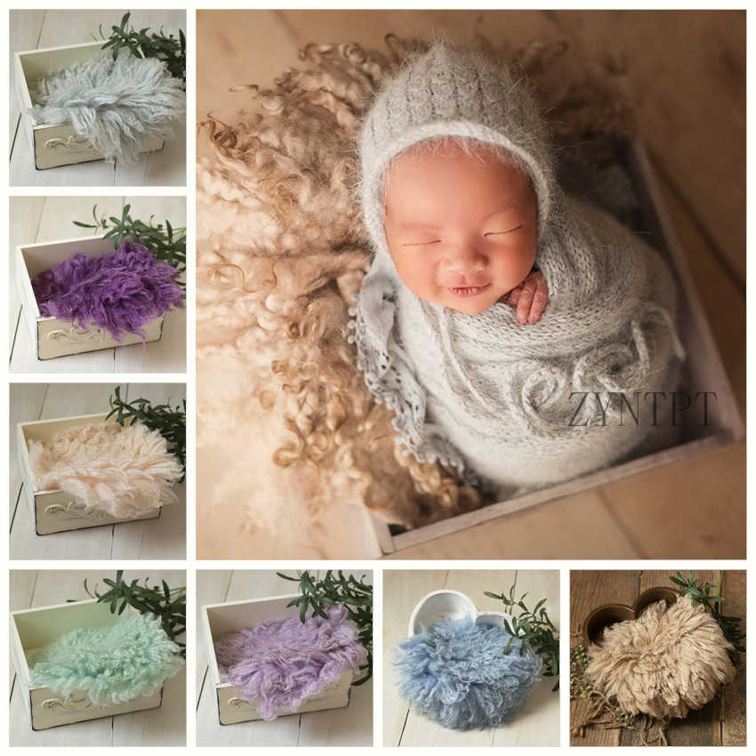 Felted Newborn Props  for photoshot Curly Round Felted Blanket Newborn Photography Props