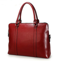 Fashion New 100% Genuine Leather Briefcase For Woman 14 inch Laptop Bag Women's Handbags Office Ladies Shoulder Messenger Bags