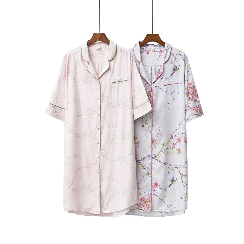 2020 Summer Simple Comfortable Short Sleeve Home Nightgown Women's Tencel Cotton Printing Sleepwear Long Nightgown Night Wear