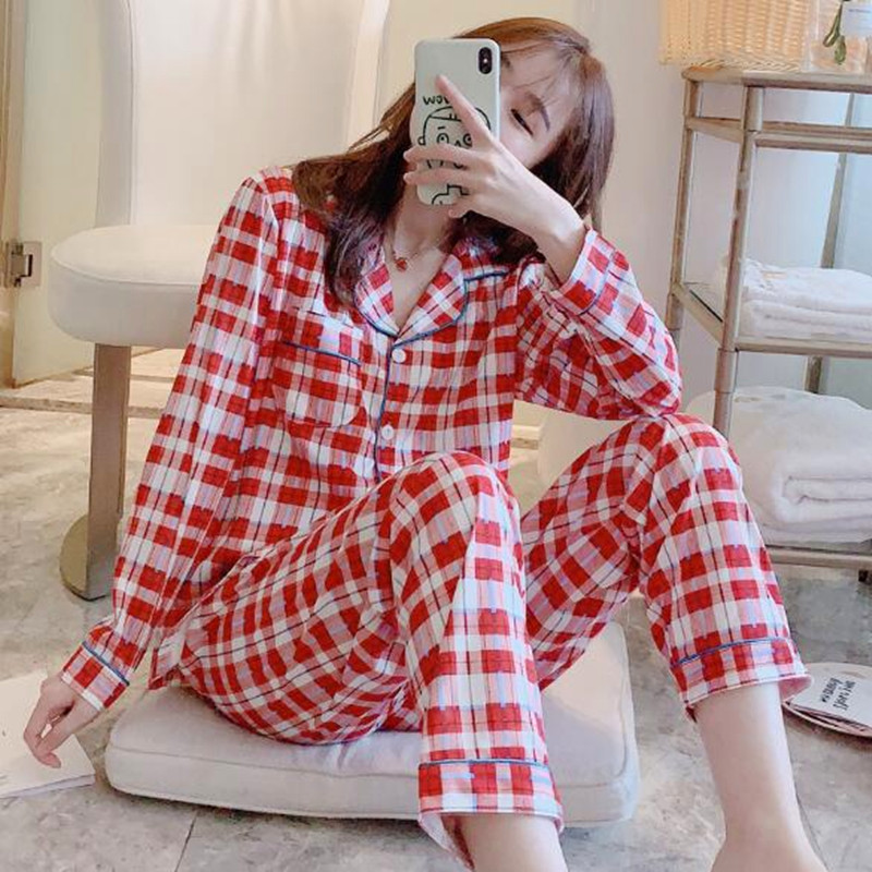 Fdfklak Fashion Plaid Cotton Sleepwear Women Pajamas Set Spring Autumn Women's Nightwear Pijamas Home Suit New Pyjama Femme
